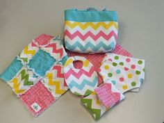 Chevron doll diaper bag with accessories and blanket