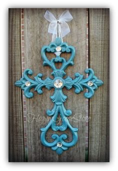 Iron & Rhinestones Wall Hanging Cross  Country Blue by happygoos