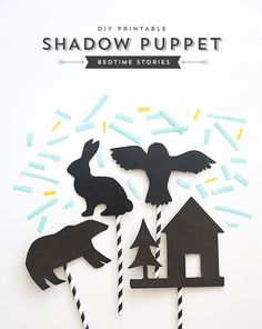 Printable Shadow Puppets - Forest Friends