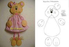 patchwork, bear, manualidad, pattern, felt doll