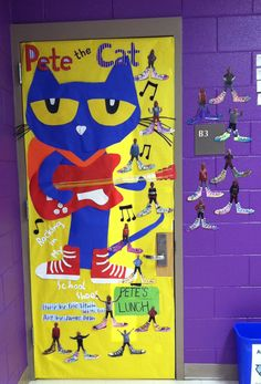 Pete the Cat door @Kimberly Peterson Peterson Lund this made me think of you!