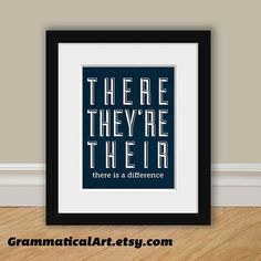 Grammatical Art on Etsy. Grammar There Theyre and Their Print - Perfect English Geekery Gift - Teacher Gift / Gifts for Teachers Book Lover Typographic Print