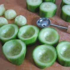 Cucumber cups! Put chicken salad, hummus, or even just veggie dip inside! Great presentation!