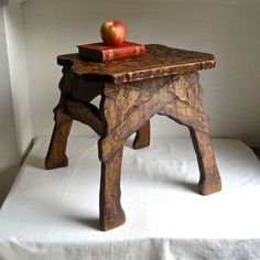 Pyrography+Side+Table+Arts+and+Crafts+by+BarkingSandsVintage,+$145.00