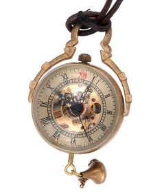 Skeleton Pendant Pocket Watch Mechanical Movement Hand Wind Steampunk Vintage Style Crystal Ball Roman Numerals - PW13