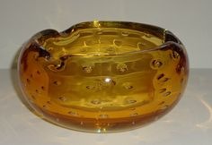 Vintage Blenko Glass Ashtray Bowl Gold B 508 Bubble Carl Erickson 1950s Art Excl | eBay