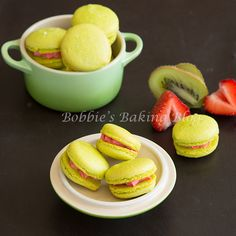 Exquisite Kiwi Macarons fused with a strawberry crème frâiche filling & a dusting of crystal sugar!
