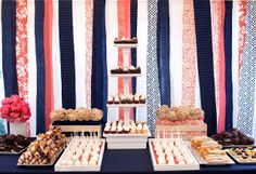 Coral and Blue Wedding Ideas for candy table. Do not use such dark blues - keep more the royal blues and teal blues.