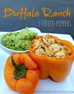 Buffalo Ranch Stuffed Peppers, with a non-Facebook link to the recipe