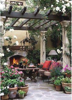 Beautiful patio, love the fireplace!