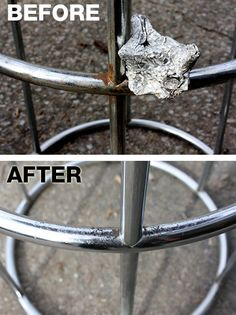 Use aluminum foil to apply soda (Coke or Pepsi will do) to rusty chrome so it shines like it did when you first bought it!  Cleaning hacks for 12 things you thought would stay dirty forever: http://www.hellawella.com/cleaning-hacks-12-things-you-thought-would-stay-dirty-forever