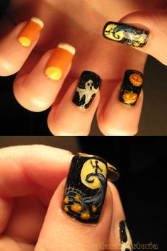 nail art - Nightmare Before Christmas, candy corn, pumpkins and ghosts