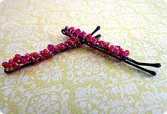 beaded bobby pins, idea, craft, pretti bead, bobbi pin