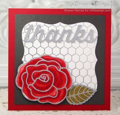 Mini Chicken Wire Background, Blueprints 19 Die-namics, Layered Leaves Die-namics, Rose with Overlay Die-namics - Sharon Harnist #mftstamps