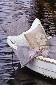 laying in a boat :)