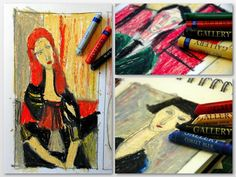 Modigliani style with oil pastels
