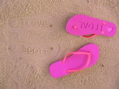 Custom Flip Flops by FlipSide Flip Flops - You could have just married or Just the name of the Bride and Groom + wedding date for example