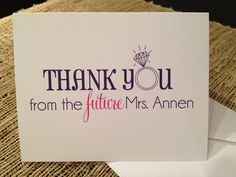 """Bridal Shower """"thank you's""""."""