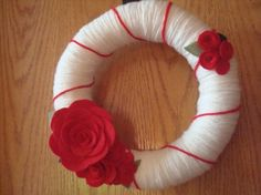 Handmade Yarn WreathRed Roses10 in wreath by astrausa on Etsy