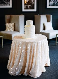 Pretty sequin table overlay- What a pretty idea for a wedding cake table