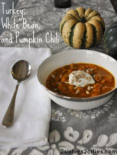Turkey, White Bean, and Pumpkin Chili recipe