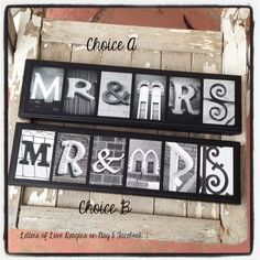 READY to SHIP  Mr and Mrs Mini Wood Sign - Wedding present, Bridal Shower gift.  Mr & Mrs.