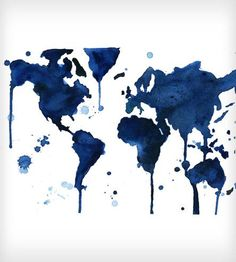 It's A Blue Blue World Watercolor World Map - by: Jessica Durrant