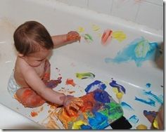 Bathtub Painting - food coloring & shaving cream