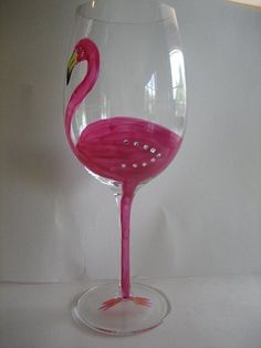 Flamingo hand painted wine glass by 2blondesandbling on Etsy, $20.00