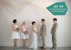 Use washi tape to create a ceremony backdrop!   Green Wedding Shoes