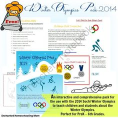 Winter Olympics Pack 2014 from Enchanted Homeschooling Mom Shop on TeachersNotebook.com -  (108 pages)  - An interactive and comprehensive pack for the use with the 2014 Sochi Winter Olympics to teach children and students about the Winter Olympics. Perfect for PreK – 6th Grades.