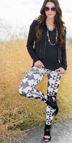 Adorable aztec leggings and motorcycle jacket! Perfect fall combo just add heels or your fav boots:) www.sexymodest.com