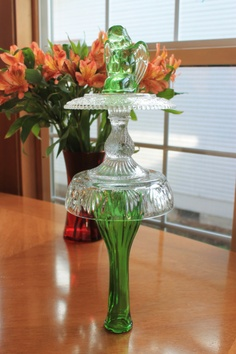 Recycled glass green yard art by YardArtiques on Etsy, $23.00