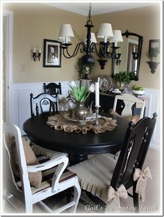 black table with burlap