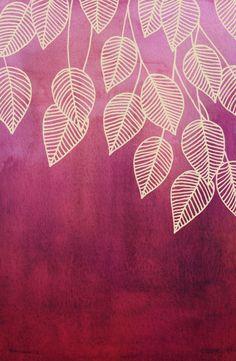 Magenta Garden - watercolor & ink leaves Art Print $16.00