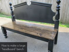 How to make a large bench out of a headboard by My Repurposed Life headboard benches, larg bench, headboardbench