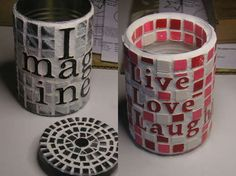 idea, tin can art, tins, tin can crafts, craft projects, craft gifts, tin cans, mosaic tiles, diy projects