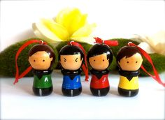 Star Trek Christmas Ornaments or Pendants Set of 4 Spock and Friends The Next Generation Kokeshi Dolls Figurines Collectable Trekkie Fans