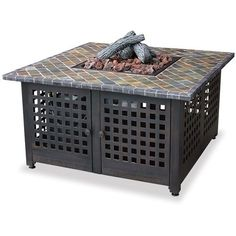 LP Gas Square Fireplace w/ Slate