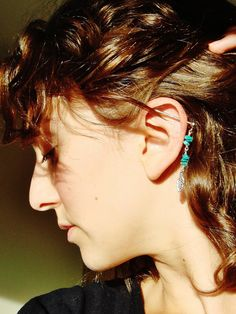 Turquoise Feather Industrial Barbell Piercing Beaded Leaf Charm Dangle Bar. $14.00, via Etsy.