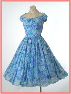 50's Watercolor Floral Chiffon Full Skirt Party Dress