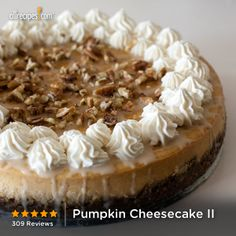 "Pumpkin Cheesecake II | ""I just made this cheesecake for Thanksgiving and my brother who LOVES CHEESECAKE claimed it was the best he has ever had!"""