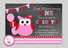 Hot Pink Valentine Owl Birthday Invitation  by The Trendy Butterfly #owl #valentine'sday # birthday invitation