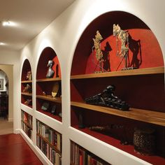 decor, home libraries, dream, mediterranean hall, book, library displays, hallway, display shelves, design idea