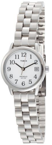 Timex Women's T2N172 EZ Reader Silver-Tone Case and Bracelet White Dial Watch Timex. $69.95. Quick date feature. Easy to view in low light conditions with indiglo night-light. Easy-to-read dial. Water-resistant to 99 feet (30 M). Stainless steel bracelet