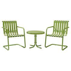 Green alfresco table & chairs.