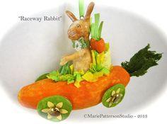 Spun cotton ornament  Raceway Rabbit by MariePattersonStudio,