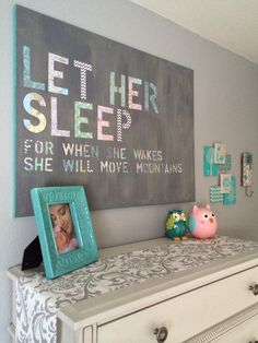 Kinslee's Nursery <3 Let Her Sleep DIY wall art made from stenciled decorative paper and maps of places me and hubby have been together, modge podge, different color grays.   Gray and white damask / chevron nursery with turquoise / teal accents Truly Scrumptious Cloud crib and dresser, baby girl / neutral, gray walls, DIY nursery