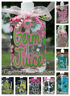Decorated Personalized Hand Sanitizers - Great gift for Teachers, New Parents, Nurses. $8.00, via Etsy.