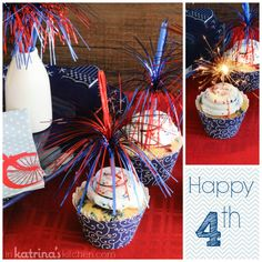Sparkly Cupcakes | www.inkatrinaskitchen A simple vanilla cupcake topped with Vanilla Bean frosting and drizzled with festive vanilla syrup.